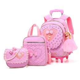 kids backpacks wheels Australia - 5PCS sets Children three wheel Trolley school bag girl princess backpack waterproof PU kid Orthopedic School Bags for teenager Y200706