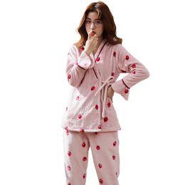 470c3be826 New Coral Fleece Women Pajamas Set Wonter Pyjamas Long Sleeve Casual Soft  Big  Size M-XXK Female Homewear Clothing Pijamas