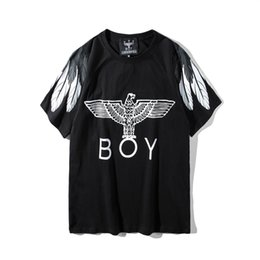 Discount eagle shirt print - 2019 summer t shirts mens designer black tshirt UK-BOY t-shirt men womens casual short sleeve tees Eagle wings print mal