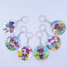 $enCountryForm.capitalKeyWord UK - Creative Girl Doll Keychain Double Sided Print Key Buckle Chain Circle Keys Ring Cartoon Bags Pendant Party Favor TTA1488