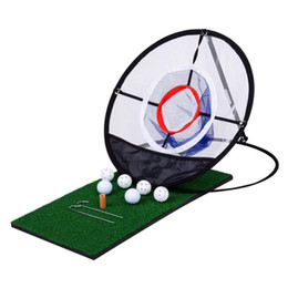 golf practice mats 2019 - Golf Indoor Outdoor Chipping Pitching Cages Mats Practice Easy Net Golf Training Aids Metal + Net2 cheap golf practice m