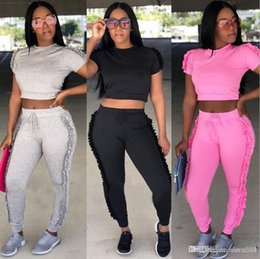 $enCountryForm.capitalKeyWord Australia - Suit-dress New Pattern Sexy Spelling Imping Round The Ear Two Paper pants Set 3 Color women sports ladies tracksuits jogging suits