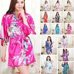 Floral Print Bridesmaid Australia - Silk Satin Floral Robe Women Kimono Short Sleepwear Print Wedding Bride Bridesmaid Silk stain Floral Bathrobe 14 Colors B11