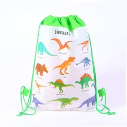 $enCountryForm.capitalKeyWord Australia - Dinosaur Canvas Drawstring Backpack Kids Children 3D Printed Non-woven Bags Pouch Draw String Bag Girls Boys Cord School Bags Backpacks 2019