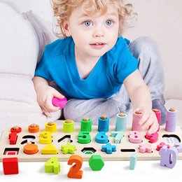 montessori math materials Australia - Children Wooden Montessori Materials Learning To Count Numbers Matching Digital Shape Match Early Education Teaching Math Toys