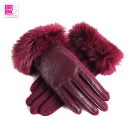 $enCountryForm.capitalKeyWord Australia - Winter Women Gloves Fashion Female Touch Screen Lamb Leather Gloves Thermal Warm Rabbit Fur Girl Mittens Wool 9856