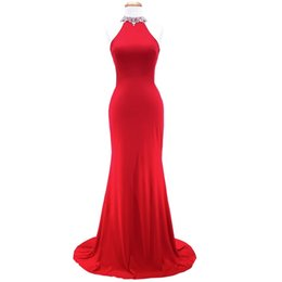 Robe Model UK - Beaded Halter Neck Satin Mermaid Evening Dresses 2019 Red Long Prom Dress Backless Formal Gowns Robe