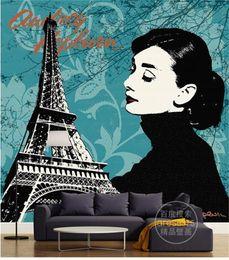 Audrey Hepburn Decor Australia - Custom Size 3D Photo Wallpaper Living Room Mural Audrey Hepburn Eiffel Tower 3D Picture Mural Home Decor Creative Hotel Study Wall Paper 3 D