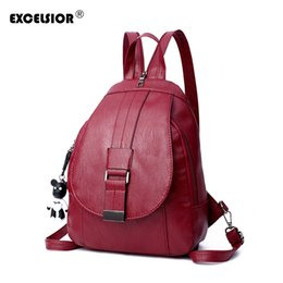 EXCELSIOR Hot Sale PU Leather School Bags Women s Backpack Large Capacity  Casual travel Bag Fashionable Bags for Women G2143 963f362496b7c