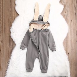 Wholesale bunny 3d cute for sale – custom 2019 Newborn Infant Baby Girl Boy Clothes Cute D Bunny Ear Romper Jumpsuit Playsuit Autumn Winter Warm Bebes Rompers One Piece