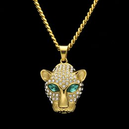 Discount gold pendants leopard - New Fashion Hip Hop Mens Gold Plated Bling Green Diamond Eyes Leopard Cuban Chain Necklace Cartoon Animal Pendant Jewelr