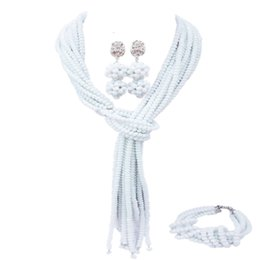 $enCountryForm.capitalKeyWord UK - White African Jewelry Set Nigerian Wedding Accessories Crystal Necklace Bracelet Earrings Sets for Women 10WJK09