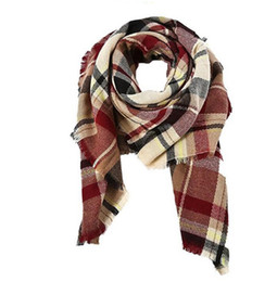 chunky scarves Canada - 2025 hot Women's Fall Winter Scarf Classic Tassel Plaid Scarf Warm Soft Chunky Large Blanket Wrap Shawl Scarves 140cm*140cm