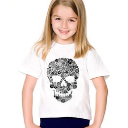 Children Flower Shirt Australia - Black Flower Skull Printed Children T-shirts Kids Summer Short Sleeve O-Neck Tees Boys Girls Casual Tops Baby Clothing,HKP131