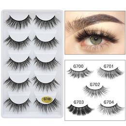 Mink False Eyelashes Extension Australia - Tamax G700 5 pairs mink eyelashes 1 box 3d mink lashes natural long false eyelashes 1cm-1.5cm eyelash extension cilios