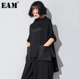 Wholesale big hem t shirt online – design EAM New Spring Autumn High Collar Long Sleeve Black Loose Pocket Stitch Irregular Hem Big Size T shirt Women Fashion JQ018 T200327