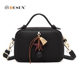 Wholesale Ladies Brand Handbags NZ - DUSUN Brand Women Handbags Boston Bag Tassel Women Shoulder Bag Designer PU Leather Bags Ladies Bolsa Feminina Female Handbags