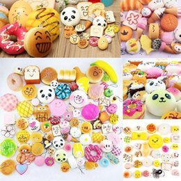 Wholesale 10pcs a Slow Rising Squishy miniature food squishies weet meats ice cream cake bread Strawberry Bread Charm Phone Straps Soft Fruit Toys