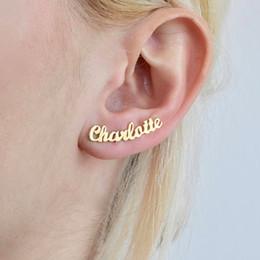 1 par personalizado personalizado nombre pendientes para las mujeres personalizar inicial placa de identificación cursiva Stud pendiente regalo para el mejor amigo niñas en venta