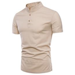 Linen Slim Shirts Australia - Mens Pullover Linen Shirts Short Sleeve Mens Quality Casual Shirts Slim Fit Solid Mandarin Collar Cotton Shirts Men