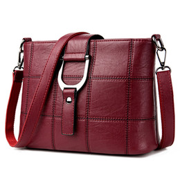 Discount wine bag messenger - Women Messenger Bags Designer Woman Bag 2017 Leather Shoulder Bags Tote Bag sac a main femme nouvelle collection(Red win