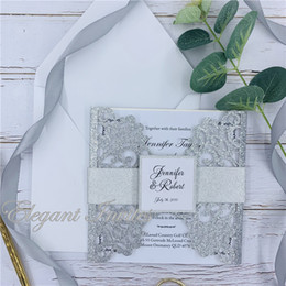 $enCountryForm.capitalKeyWord Australia - glitter paper Silver color luxury party wedding decoration invitaitons place cards latest dinner invites card free shipping