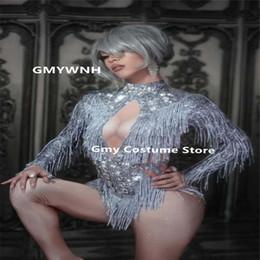 X29 Costumes de danse de bal strass scintillants argent frangé maigre jumpsuit cristaux glands body elastique robe justaucorps modèles habillent en Solde