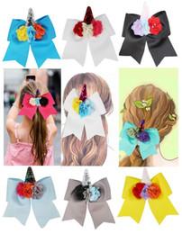 $enCountryForm.capitalKeyWord Australia - NEW 12PCS lot 7'' Pearl flower Unicorn Cheer Bows white grosgrain ribbon Hair Bow With Elastic Hair Bands For Girls Hair accessories