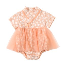 baby girl cotton flower dress NZ - 2020 New Han Chinese Clothing Romper for Girls Summer Flower Printed Tulle Infant Cotton Onesie Dress Baby Newborn Jumpsuit C6312