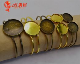 Supply Antique Bronze 20mm Double Round Bangle Bracelet Blank Base Tray Bezel Cabochon Setting F3084 Beads & Jewelry Making Jewelry Findings & Components
