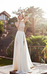halter wedding dress sash applique Canada - 2019 In Stock Summer Vintage Beach Empire Wedding Dresses A Line Chiffon Lace Side Split Halter Backless Bohemian Bridal Gowns