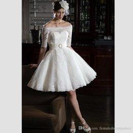 Free Size White Beach Dress Australia - White Lace Short Wedding Dresses 2018 Vintage 1 2 Sleeves Knee Length Lace Appliques Beach Bridal Dresses Custom Made Free Shipping