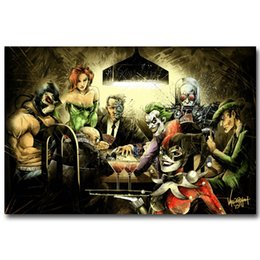 Wholesale Batman Anti Heroes Playing Poker Funny Art Silk Poster x36inch x43inch