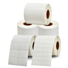 price tags stickers UK - blank square 40*70mm-45*35mm coated paper barcode price tag adhesive sticker label roll package shipping address label office print sticker