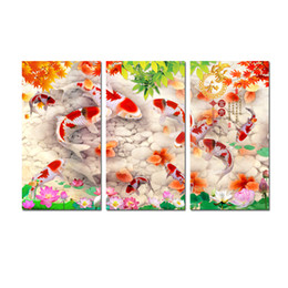 contemporary frames canvas prints Australia - Original Contemporary 3 Pcs Giclee Print On Canvas Wall Art China's Wind Feng Shui Koi Fish Painting Living Room Office Home Decor HYL-A1049