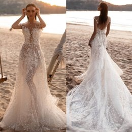 Natural Red Coral Beads Sale Australia - Hot Sale Lace Beach Backless Wedding Dresses A Line Sheer Bateau Neck Beaded Bridal Gowns Tulle Sweep Train robe de mariée