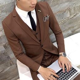 $enCountryForm.capitalKeyWord Australia - Brown Men Suits 2019 Slim Fit Style 3 Pieces Set Wedding Groom Tuxedos (Jacket+Pants+Vest+Tie) Formal Business Men OFfice Suits