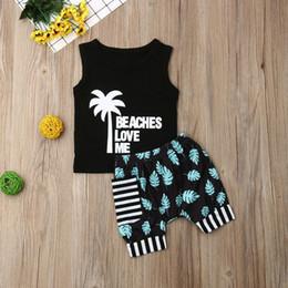 $enCountryForm.capitalKeyWord Australia - 2019 Brand Toddler Baby Girl Boy Coconut Tree Tops T-Shirt Striped Pocket Shorts Casual Outfit Clothes Summer Holiday Beachwear