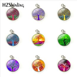 $enCountryForm.capitalKeyWord Australia - Colorful Tree Beautiful Life of Tree Printed Patterns Round Glass Cabochon Charms Pendants Hand Craft Stainless Steel Accessory
