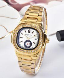 54 Патек Филипп горячая ТОП Марка роскошные мужчины кварцевые бизнес-часы из нержавеющей стали бриллиант часы наручные мужские женские по