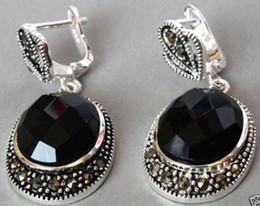 $enCountryForm.capitalKeyWord Australia - Women Gift word Love Vintage 925 Sterling Silver Natural Faceted Black stone Onyx Marcasite Earrings for women jewelry