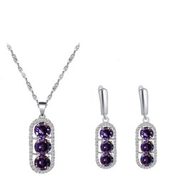 purple zircon necklace 2019 - Purple Round 925 Sterling Silver Zircon Earrings Necklace Pendant Jewelry Fashion Anniversary Set JS841 cheap purple zir