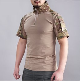military combat clothing 2019 - Summer Camouflage Military T Shirt Men Breathable Army Combat Tactical T-shirt Cotton Short Sleeve Uniform Clothing chea