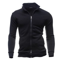 Chinese  Mens Zipper Sweaters Stand Collar Long Sleeve Coat for Men Solid Color Cardigan Hooded Sweatshirts Outwear Hoodies Plus Size 3XL manufacturers