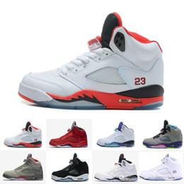 sports shoes d52a8 8acee 5s Classic 5 chaussures de basket-ball blanc ciment noir métallique rouge  bleu daim baskets Oreo couleur de raisin bel air Oreo pour hommes