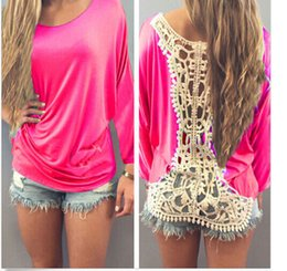 Lace Splice T Shirt Australia - Ladies Long Tops Lace Back Splicing Short Sleeve Batwing Sleeve Summer O Neck Tops For Women Apparel Loose T Shirt