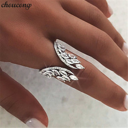 angel wing finger NZ - choucong Female Angel wings Ring 925 sterling Silver Diamond Engagement Wedding Band Rings For Women Finger Jewelry Gift