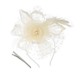 head flower hair clip accessories UK - Polka Dot Cap, Flower Mesh With Feather Veil Cap With Head Clip Clipper Ms. Hat Hair Accessories, Wedding Party