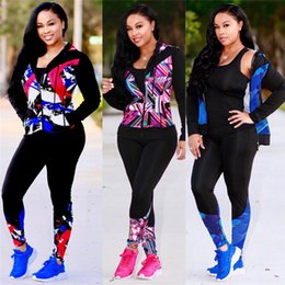 Cheap Wholesale Leggings Australia - Women Fashion Tracksuits Long Sleeve Coat Jacket Tops+ Panst Leggings 2pcs Set Outfit Patchwork Sportswears Sweat Suits S-2xl Clothing Cheap