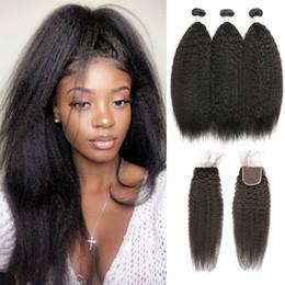 $enCountryForm.capitalKeyWord NZ - RXY Yaki Straight Human Hair Bundles With Closure Kinky Straight Hair Bundles With Closure Pre Plucked Lace Closure With Baby Hair 4Pcs Bag
